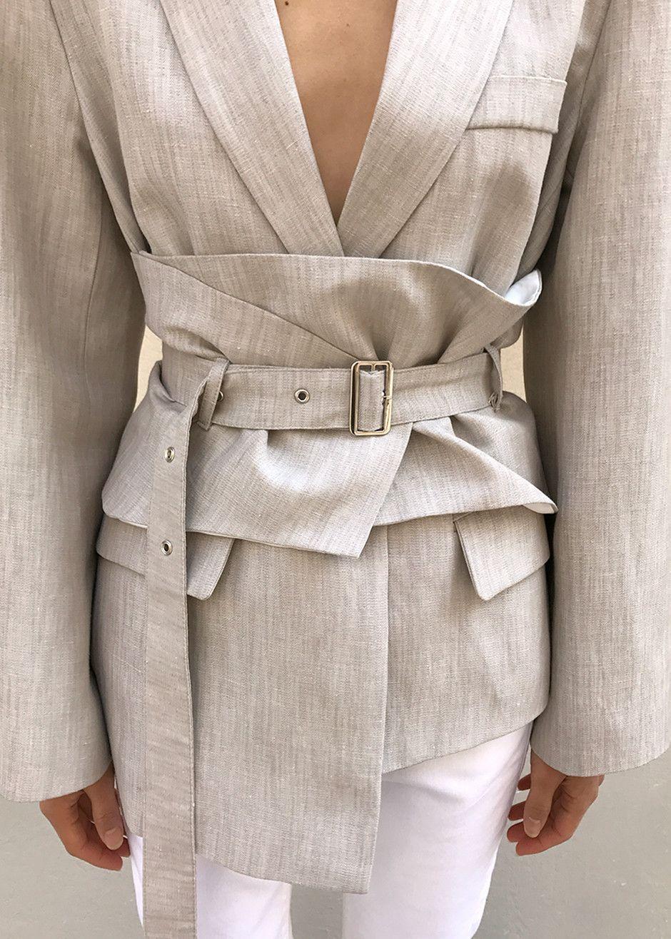 veste blazer en lin cru ceintur e tendance mode femme. Black Bedroom Furniture Sets. Home Design Ideas