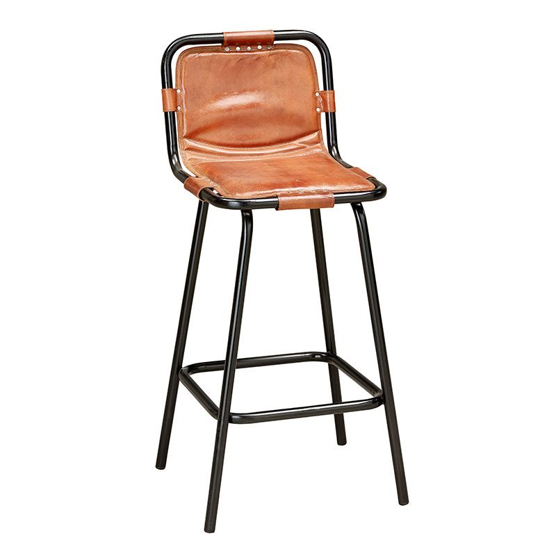 Vintage Factory bar stool featuring a tubular steel frame in a black iron finish distressed leather seat and rivet fixings. Please note that the seat ...  sc 1 st  Pinterest & Vintage Factory bar stool featuring a tubular steel frame in a ... islam-shia.org