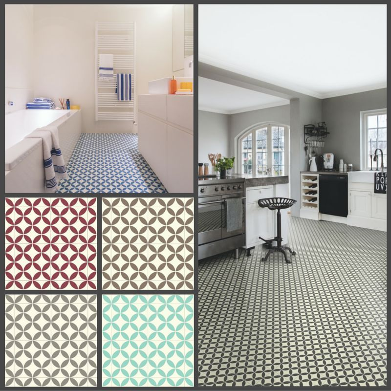 Victorian Tile Design Vinyl Flooring Sheet Non Slip Lino