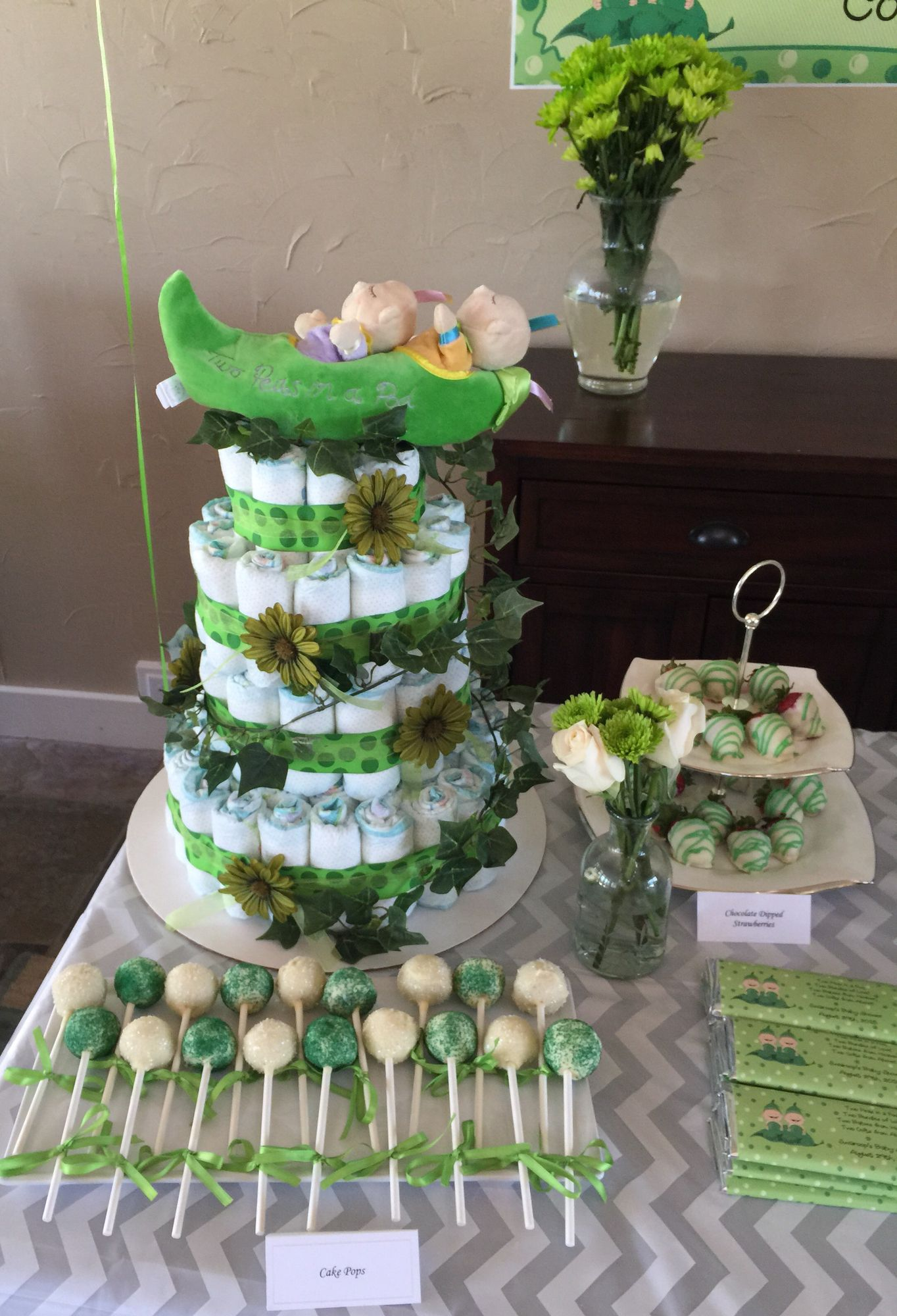 Two peas in a pod baby shower theme diaper cake