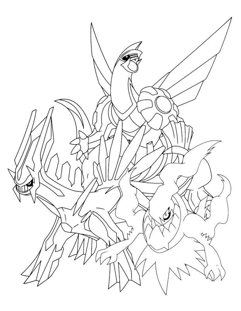 Palkia, Dialga & Darkrai Pokemon coloring pages, Pokemon