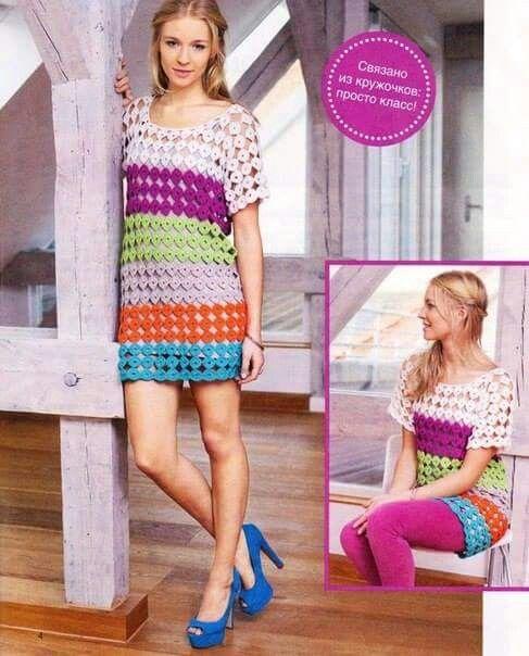 Mini vestido o blusón fácil de hacer uniendo pequeños motivos