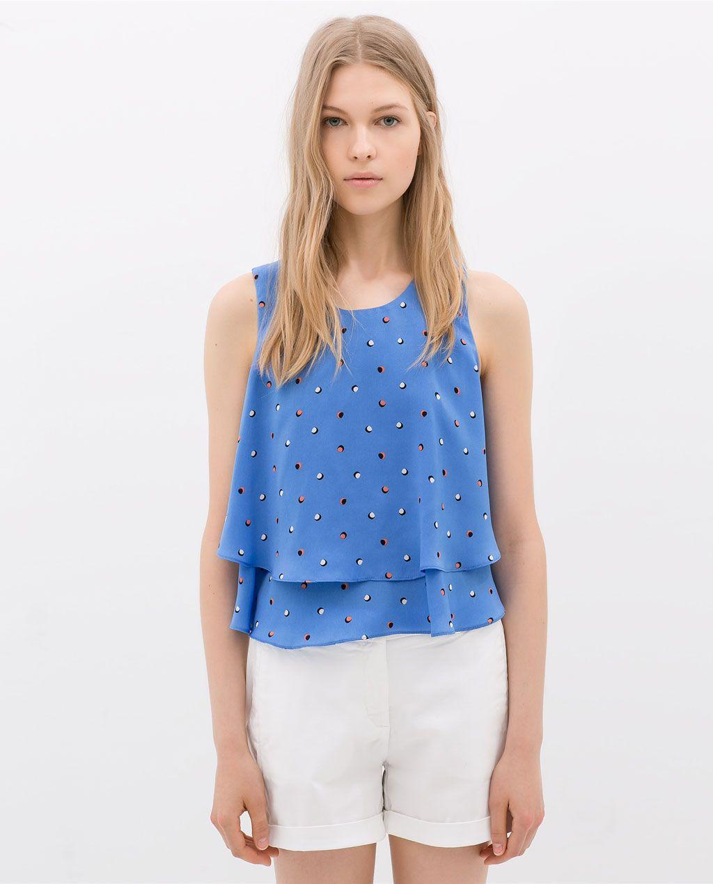 Zara Women/'s T-shirt lookbook Spring//Summer Fashion  sleeveless Striped Red