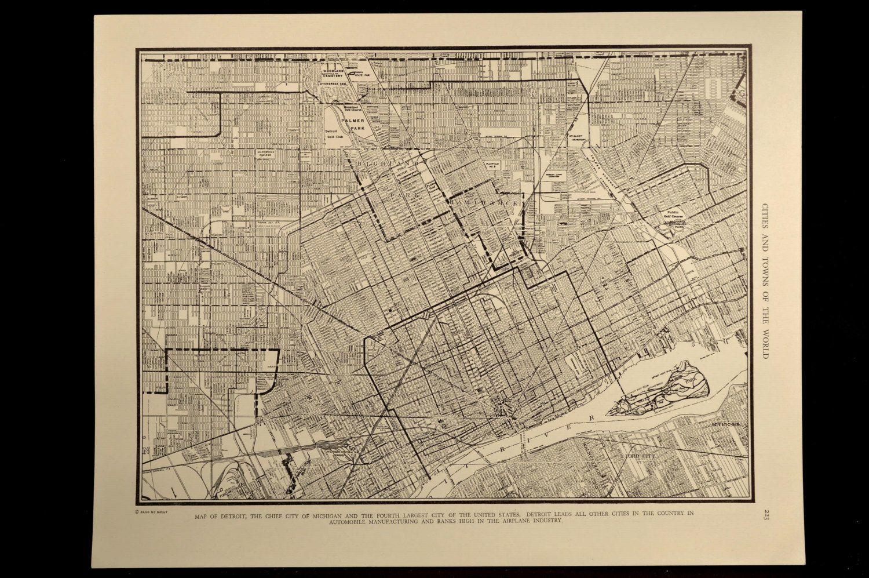 Detroit Map Detroit Street Map Vintage Michigan 1930s Detroit map