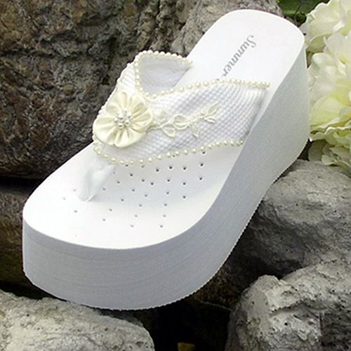 2937b0f07adc Platform White Sequin Bridal Flip Flops for weddings. Weddingtennies.com