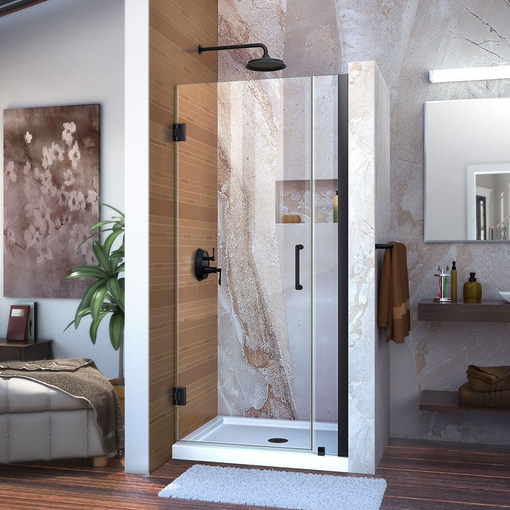 Unidoor 31 32 Inch W X 72 Inch H Frameless Hinged Shower Door Clear Glass In Satin Black In 2020 Shower Doors Frameless Shower Doors Frameless Shower