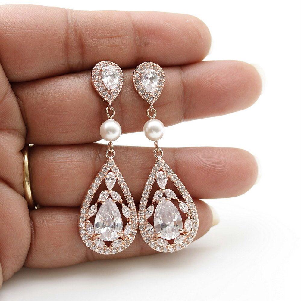 Rose Gold Bridal Earrings Wedding Jewelry Long Pearl Crystal Earrings Cubic Zirconia Drop Wedding Earrings Necklace Set Esther Gold Bridal Earrings Wedding Earrings Drop Wedding Earrings