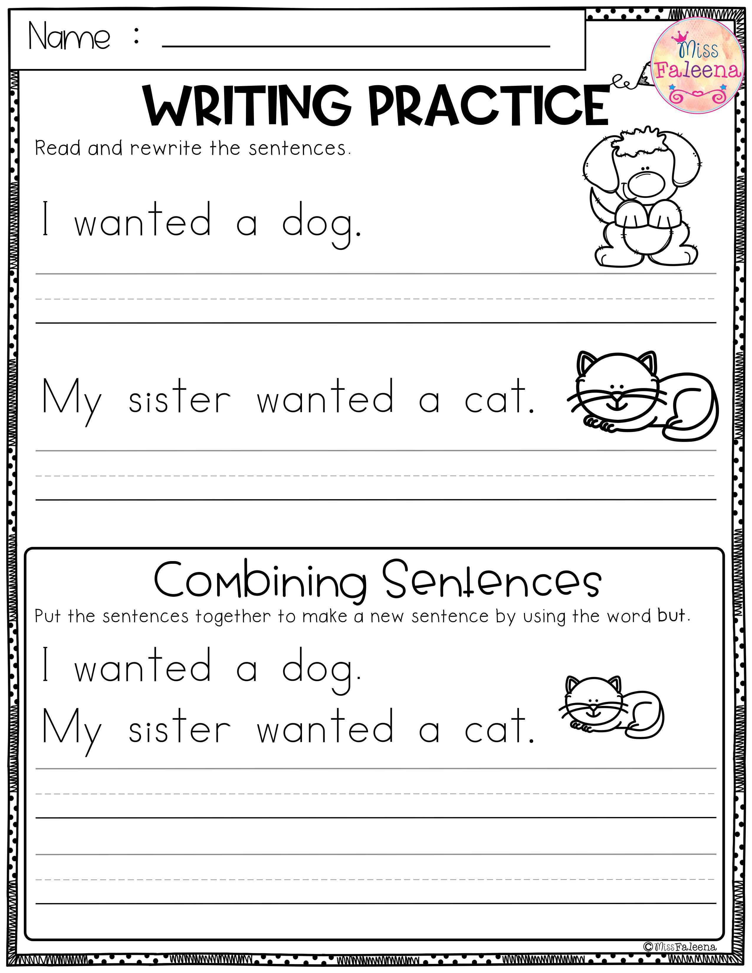 Second Grade Writing Sentences Worksheets   Printable Worksheets and  Activities for Teachers [ 3300 x 2550 Pixel ]