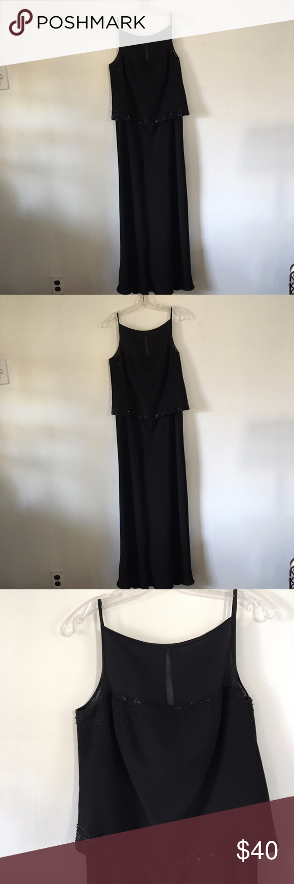 Jones New York Black Evening Gown - Size 16 | Size 16, Sequins and Gowns
