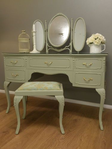 louis style painted dressing table mirror stool shabby chic painted rh pinterest com