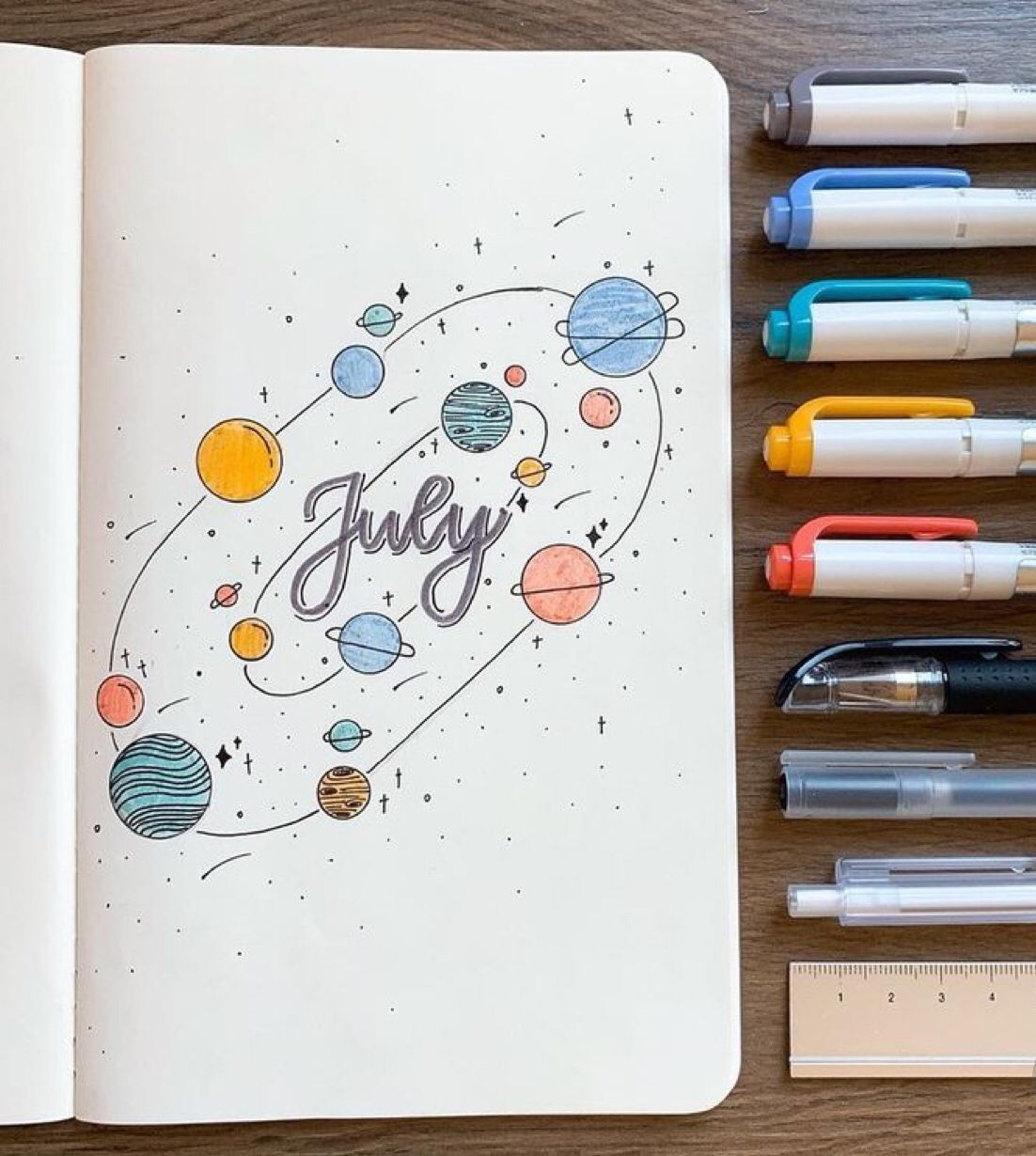 25 Space and Galaxy Themed Bujo Spreads