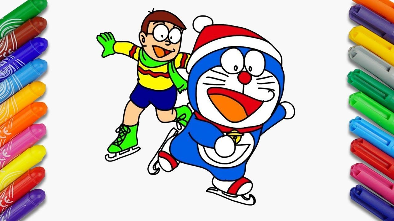 Doraemon and Nobita Ice Skating  How to Draw and Color Doraemon