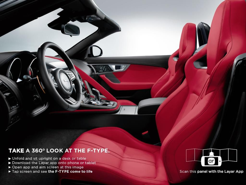 Wow nice example of an interactive ar enriched ad for the jaguar f type scan with the app