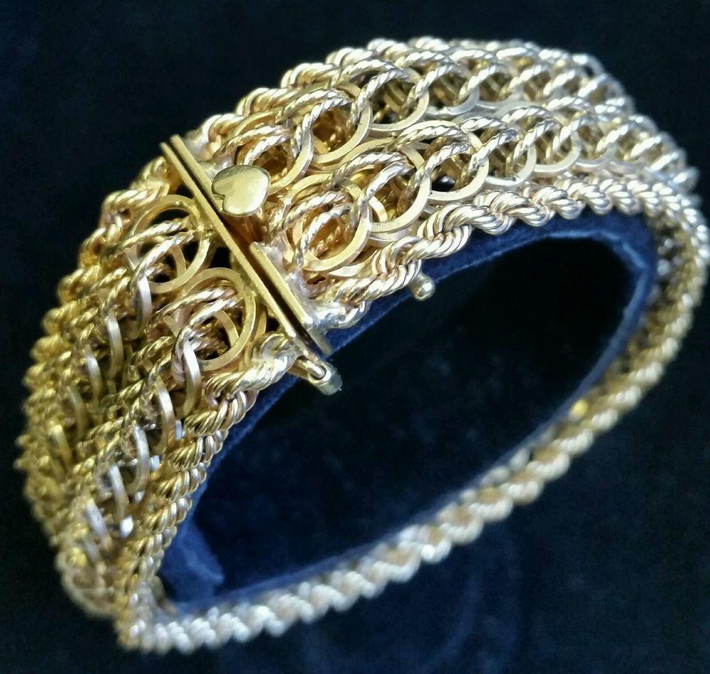 Vintage k yellow gold charm bracelet inch length grams