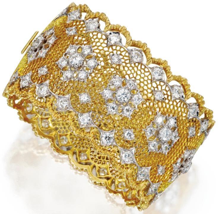 Gold Italy Platinum: 18 Karat Gold, Platinum And Diamond Bangle-Bracelet