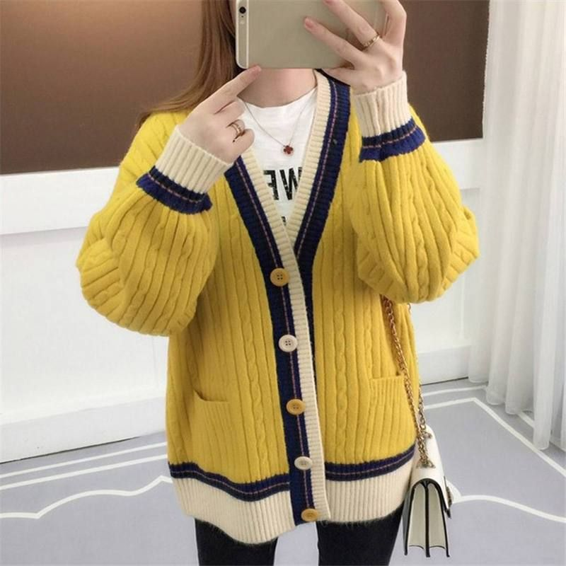 5d63ab742c9 Knitted Cardigan Contrast Color V-Neck – Tomscloth