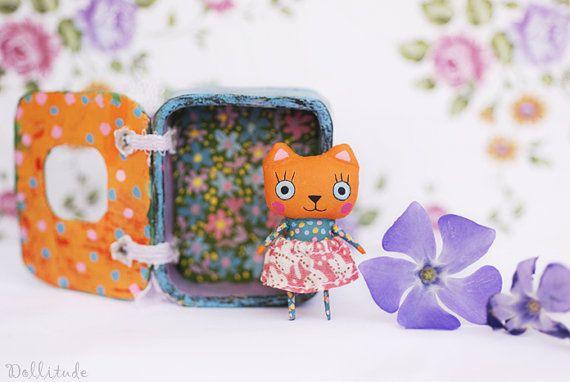 Muñeca kitty naranja muñeca hecha a mano de gato gato por mirianata