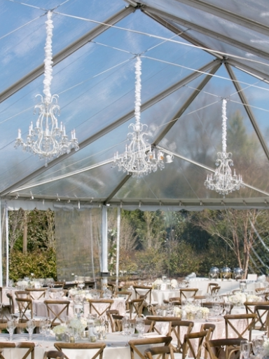 White frame crystal chandelier in Party Reflections tent at Doris Duke Center.  Planner: Grace Leisure Events.
