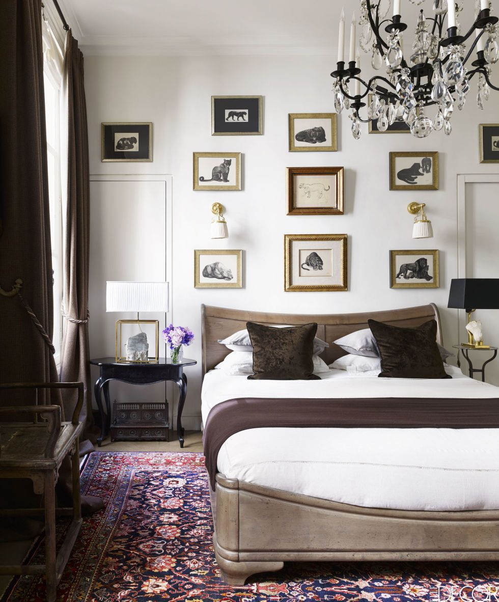 Master bedroom gallery wall  Interiors Decoration  Wall rugs Paris decor and Gallery wall