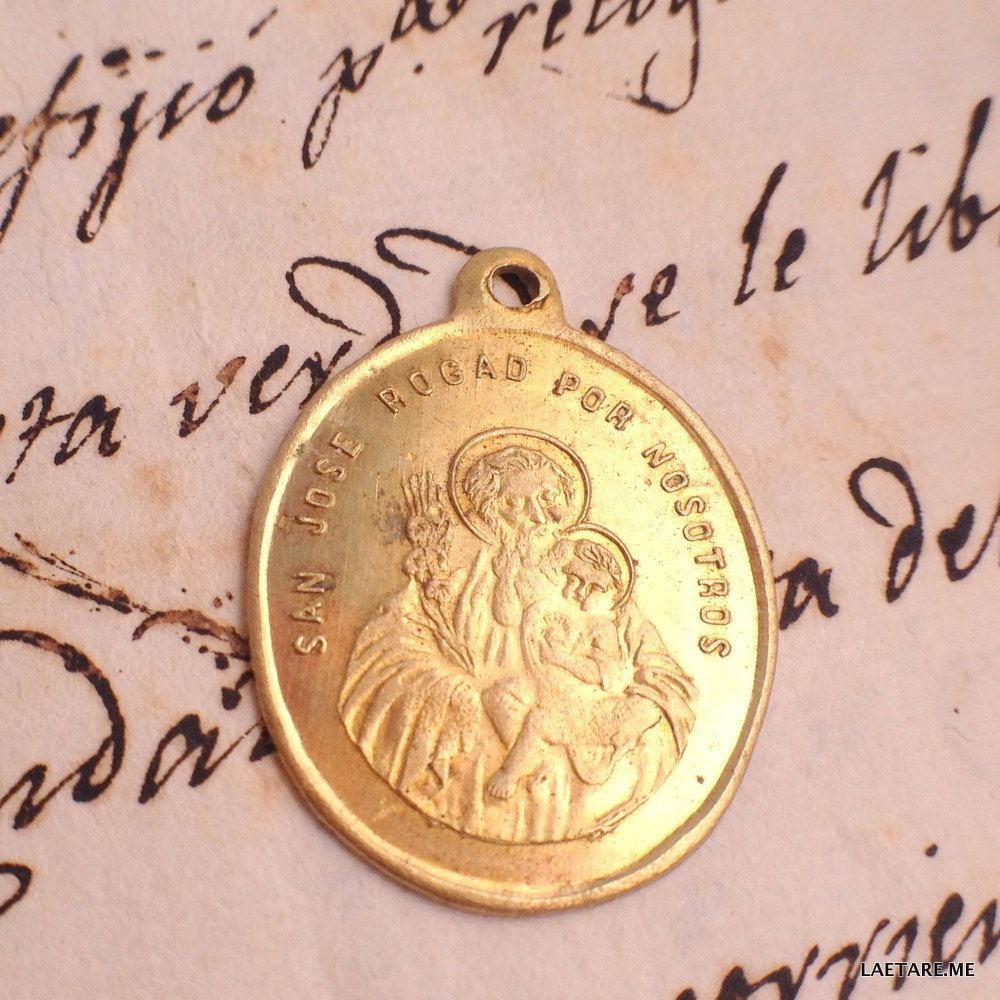 Antique Saint Joseph and Hearts of Jesus and Mary - Brass Medal Spain by LaetareRejoice on Etsy