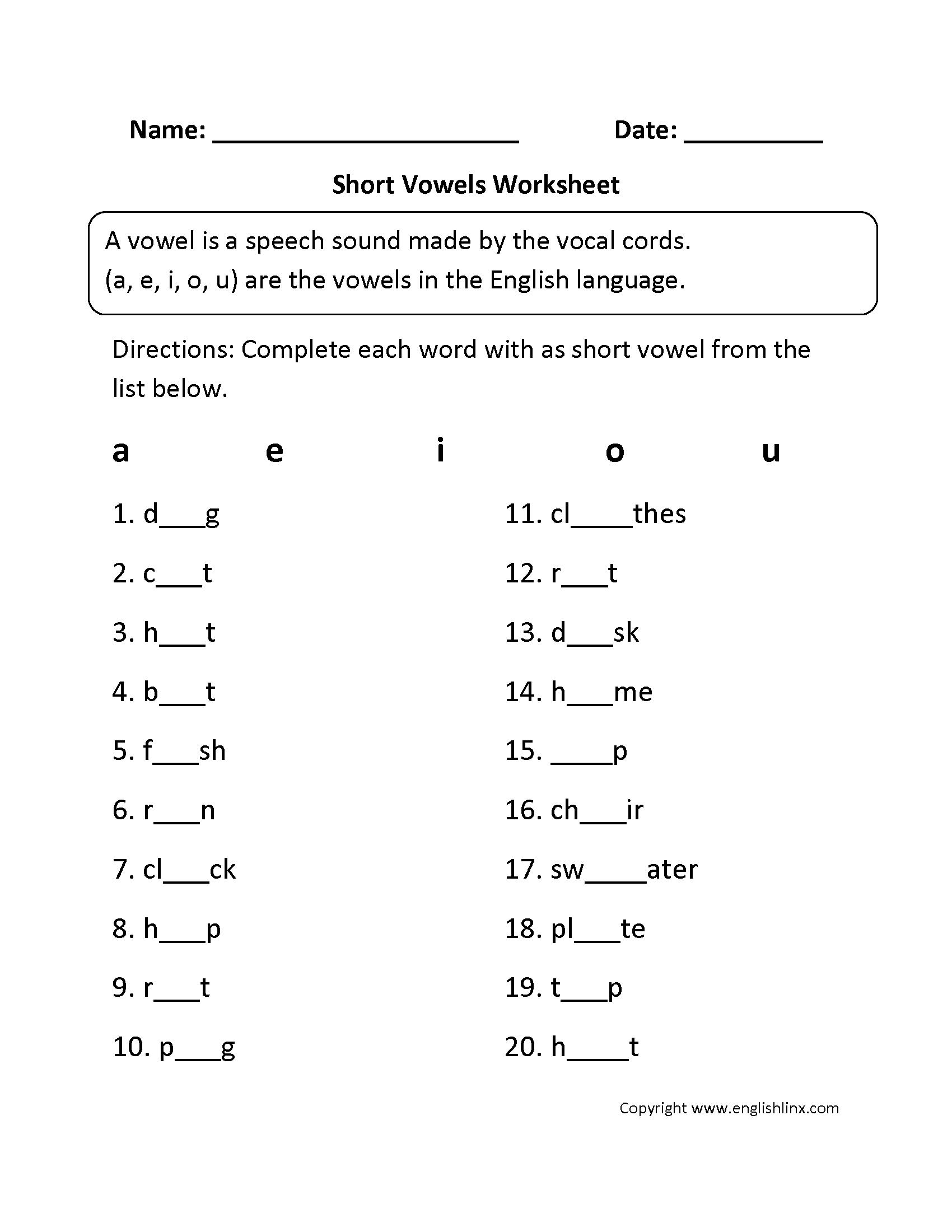 Short Vowel Worksheet Nursery Vowel Worksheets Long