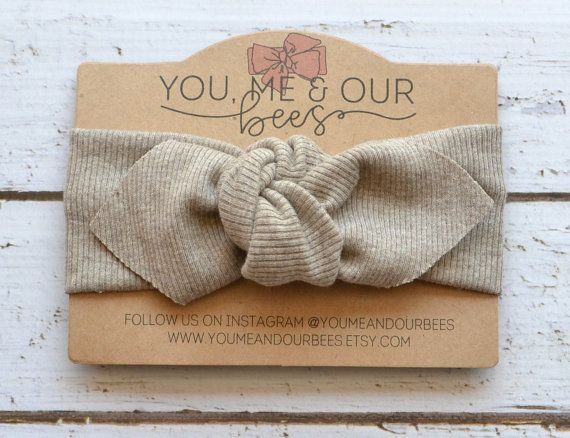 Taupe Top Knot Headwrap Heather Color Cotton Rib Knit Stretch Fabric Baby Headband