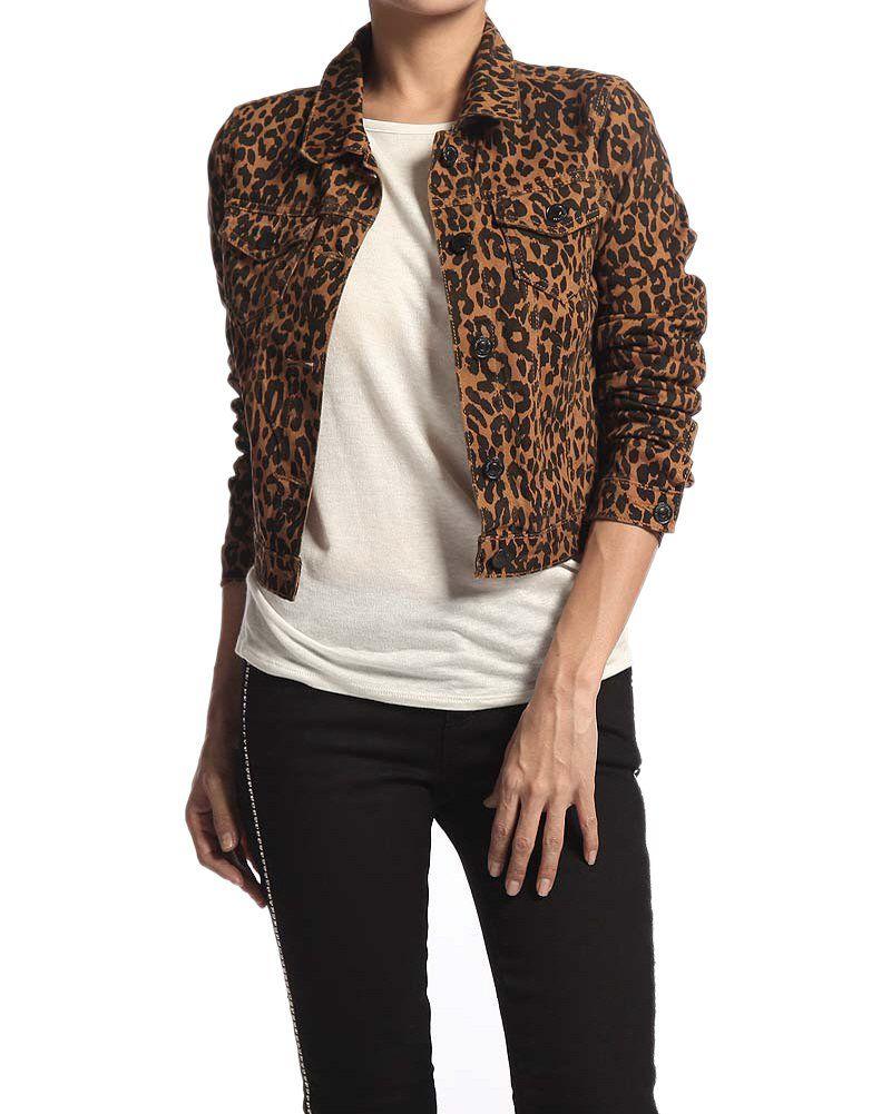 Chiqle womens leopard print stretch denim jacket vintage