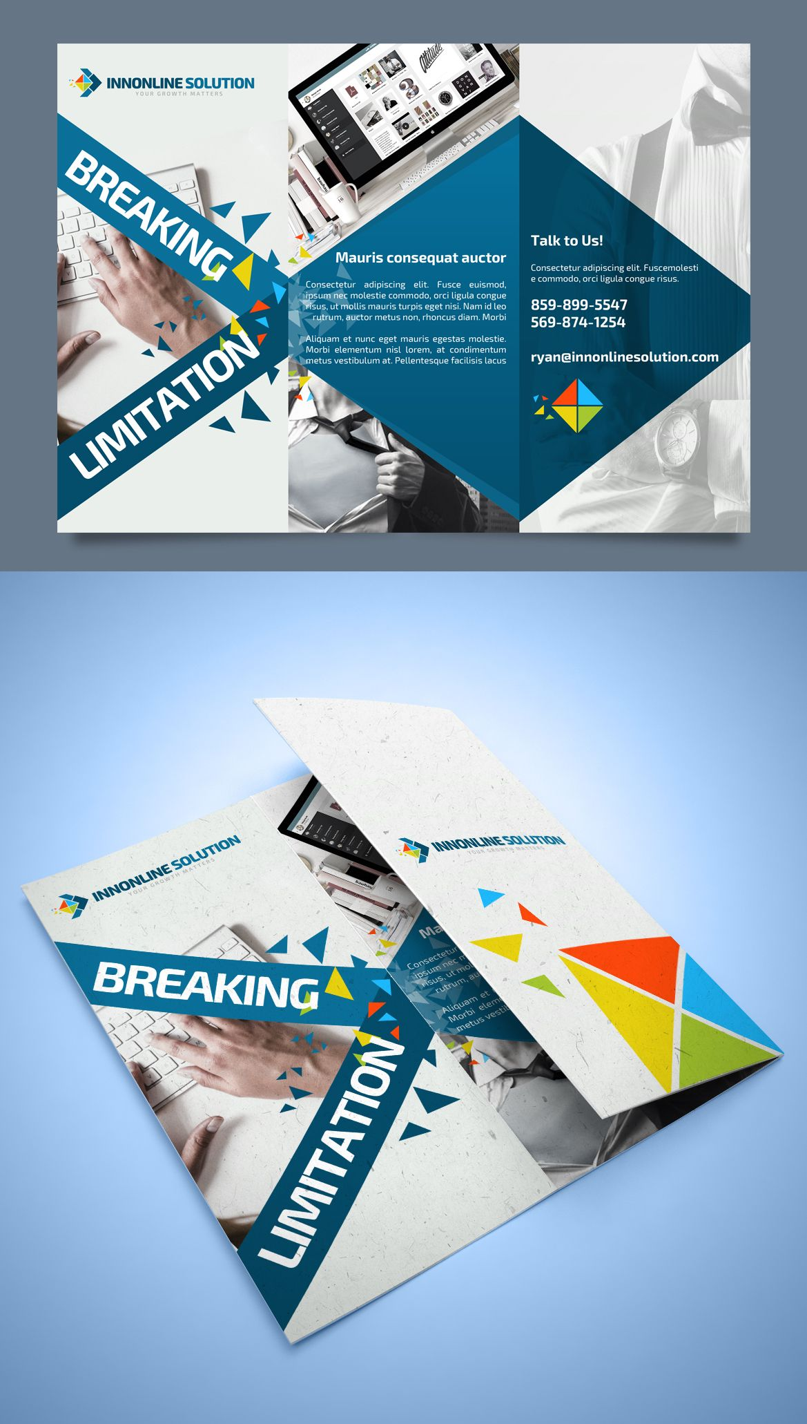 trifold design flyer for innonline solution flyer business