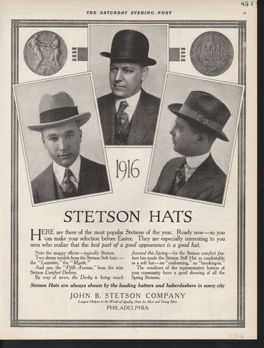 3ac40d359726 1916 Stetson Men Hat Fashion Bowler Fedora Philadelphia