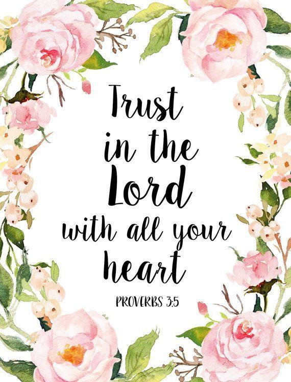Vertrauen In den Herrn, Schrift Kunstdruck, Sprüche 3 5, Bibel-Vers-Druck, inspirierende Druck, druckbare Bibel, Instant download #bible