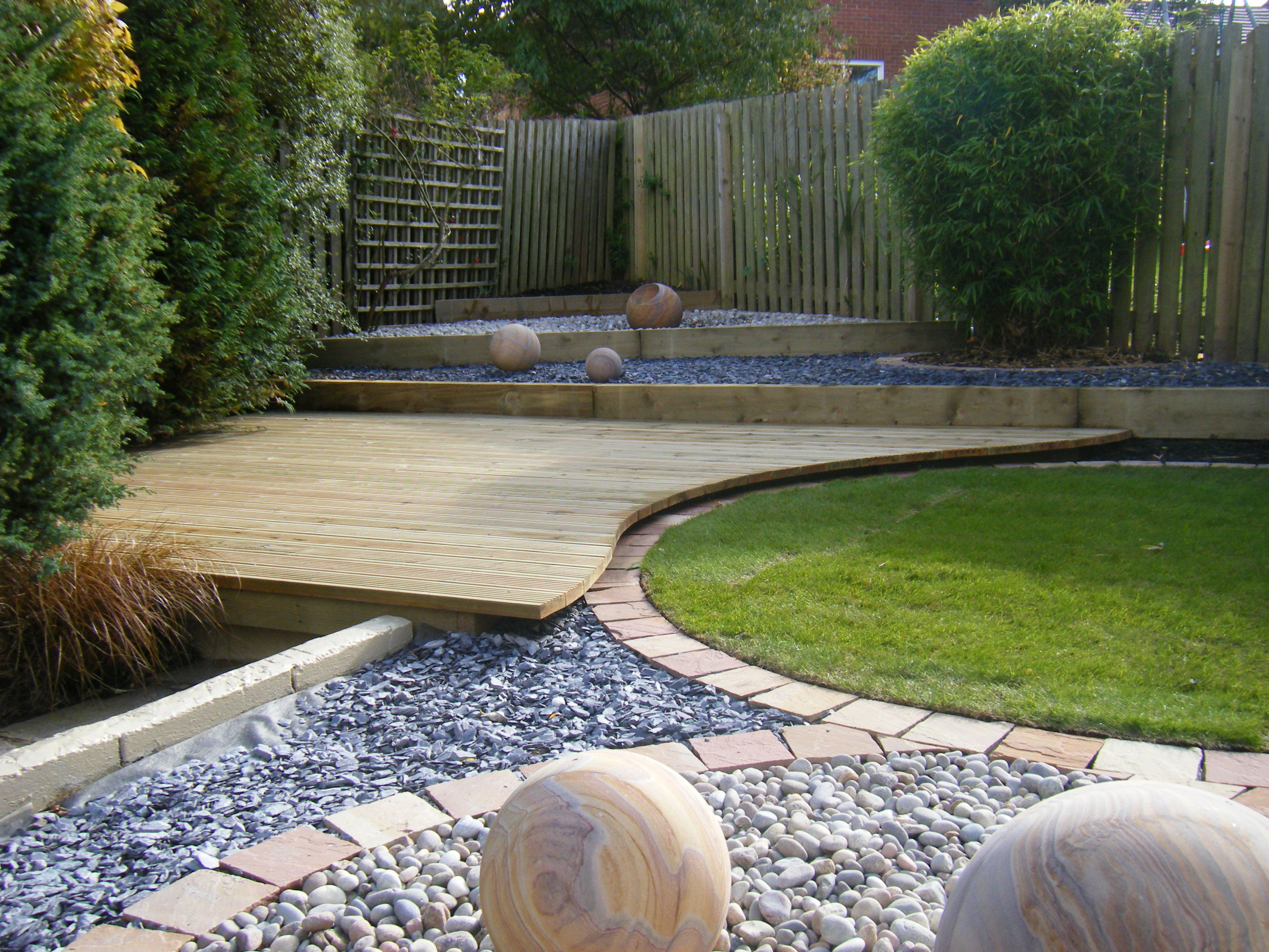 Modern Garden Ideas Design With Wooden Deck Gravel Stone And Grass