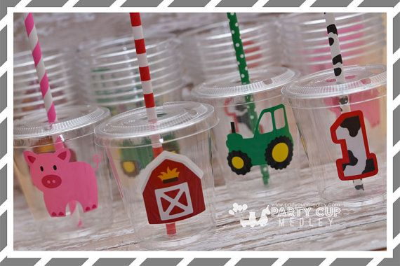 Farm Birthday Party Cups-Kids Party Cups-Farm Party Favor Cups