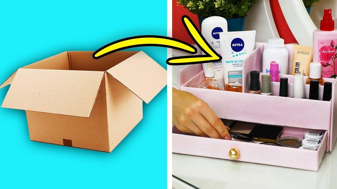 27 Cute Ways To Repurpose Cardboard Boxes Youtube Cardboard Box Crafts Easy Diy Jewellery Box Cardboard Box Diy