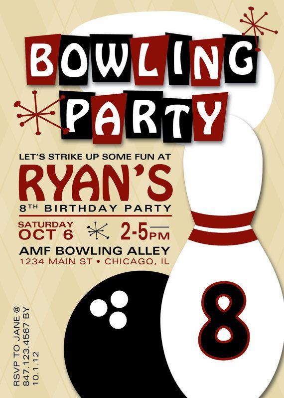 Bowling Birthday Party Invitation Fiesta De Cumpleaños