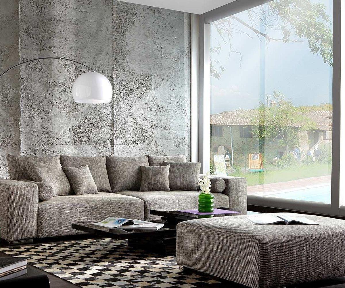 Big Sofa Xxl Marbeya 290x110 Cm Hellgrau Mit Schlaffunktion Hocker