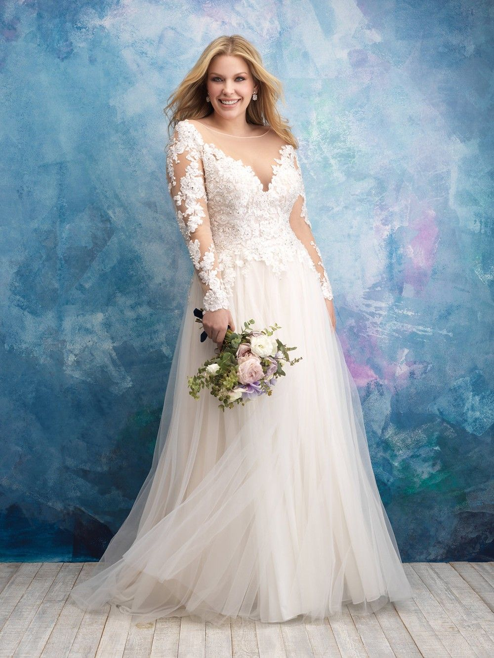 Plus Size Wedding Dress By Allure Bridals Style 9624 Slim Beaded Straps Support This Delicate Yet Allure Wedding Dresses Allure Bridal Plus Wedding Dresses [ 2020 x 908 Pixel ]