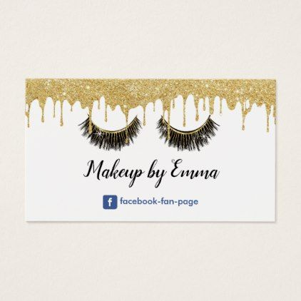 Makeup artist chic lashes modern gold dripping business card makeup artist chic lashes modern gold dripping business card artists unique special customize presents reheart Choice Image