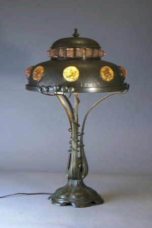 This lovely austrian chunk jewel leaded glass lamp is art nouveau this lovely austrian chunk jewel leaded glass lamp is art nouveau inspired the lamp shade aloadofball Gallery