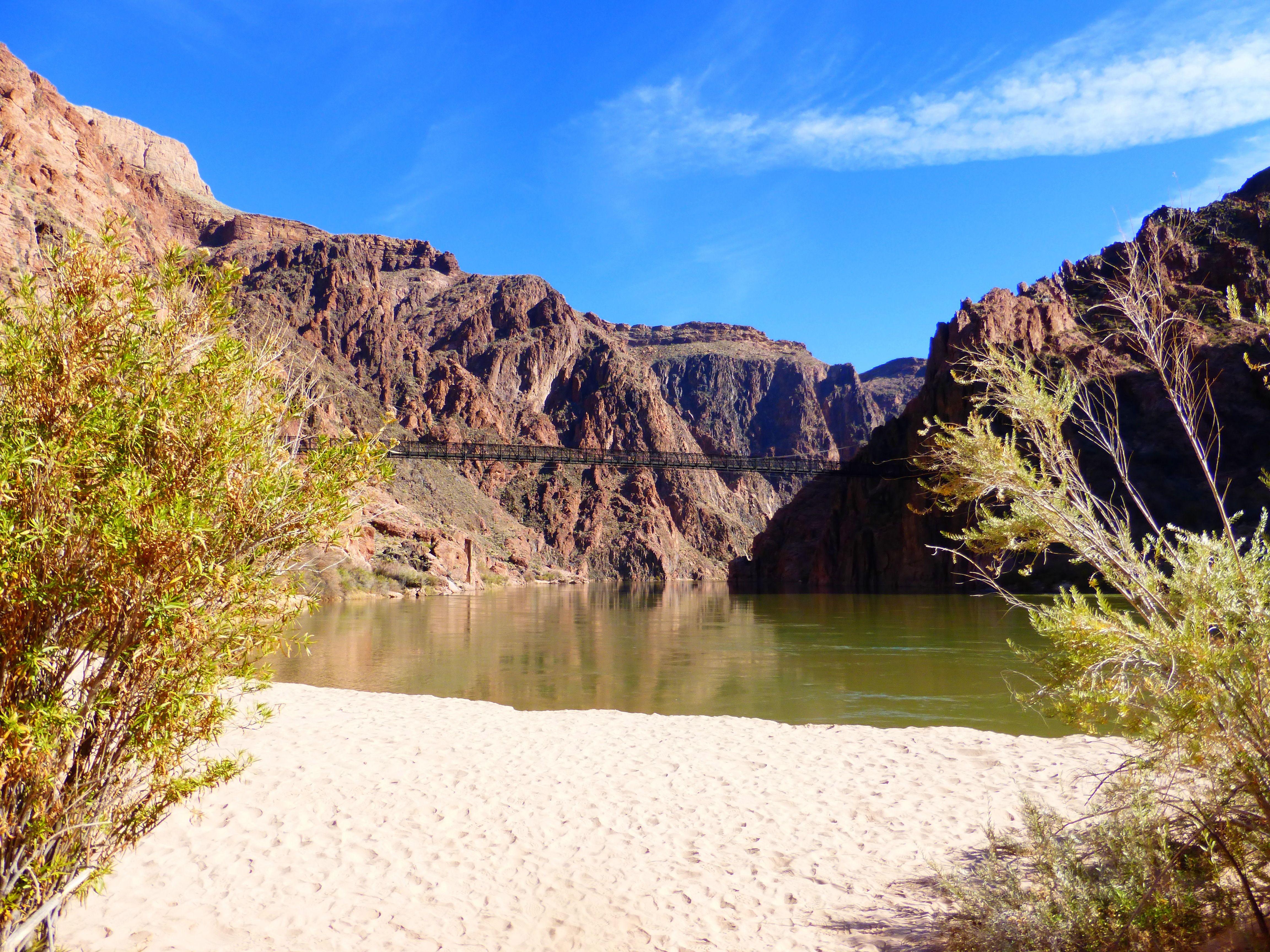 Boat Beach And Black Bridge Near Phantom Ranch Grand Canyon