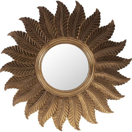 This stylish take on the sunburst mirror features an artful leaf design in golden tones for an impressive addition to decor. Product:...