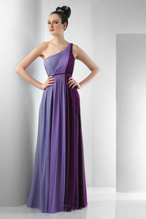One Shoulder Contrast Purple Designer Bridesmaid Dresses Online