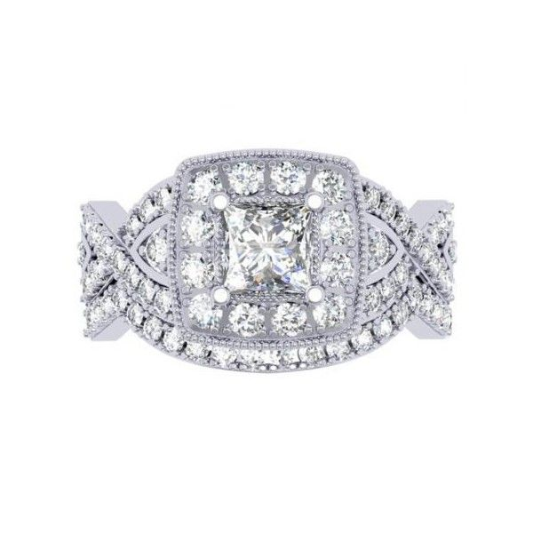 1.40 Carat (ctw) 18K White Gold Princess & Round Diamond Twisted Swirl... ($1,489) ❤ liked on Polyvore featuring jewelry, rings, white, white gold ring, diamond rings, white gold engagement rings, round diamond ring and princess cut engagement rings