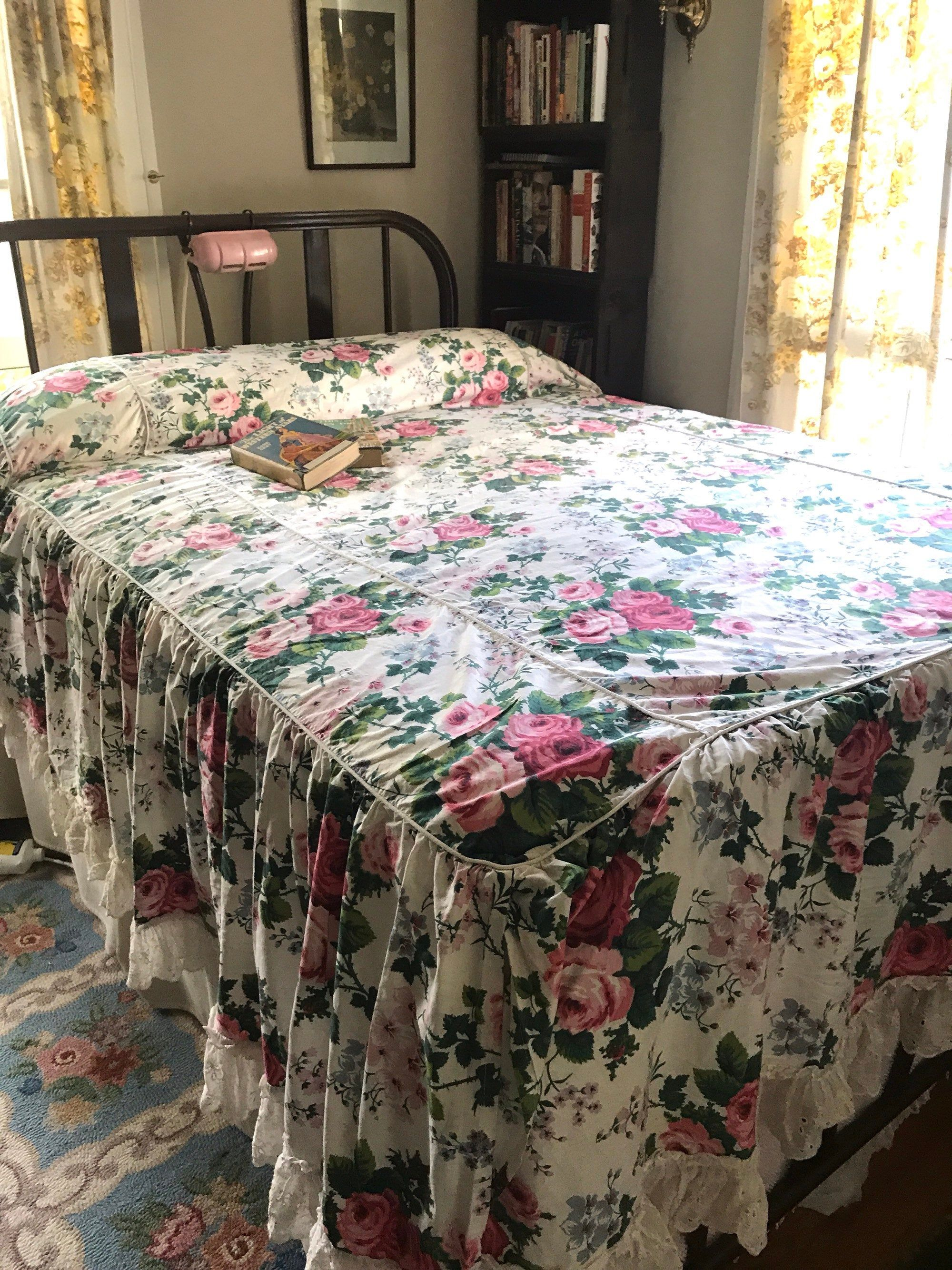 Vintage 1950s Cotton Floral Bedspread Full Double Size Big Rose Print Ruffles Eyelet Chintz Home Decor Vintage Bedding Vintage Bed Floral Bedspread Home Decor