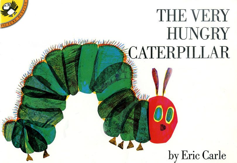 ERIC CARLE BOOK COVER POSTCARD ~ THE VERY HUNGRY CATERPILLAR ~ NEW