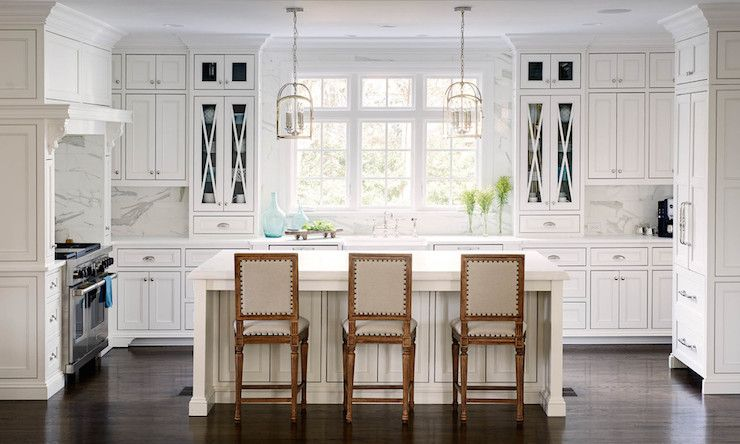 Beautiful kitchen features Visual Comfort Lighting Medium Arch Top