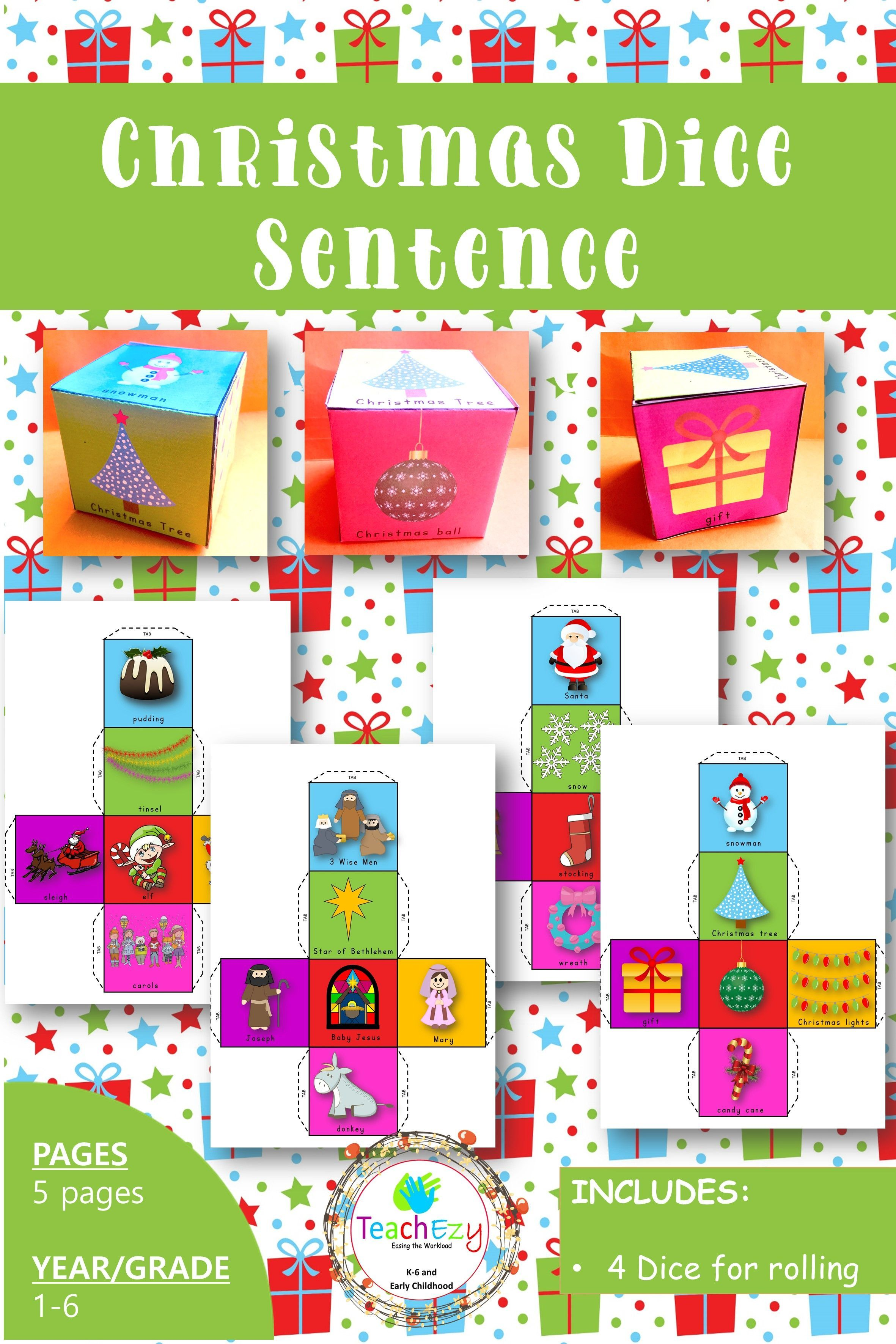 Four Christmas Dice Sentence Activities Suitable For Any