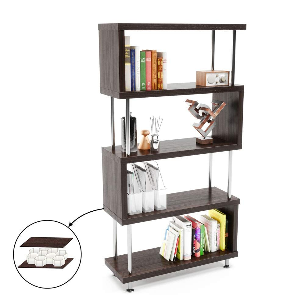 Bestier 5 Shelf Bookcase S Shaped Geometric Bookcase Wood Storage Corner Shelves Z Shaped 5 Tier Vintage Industrial Etagere Bookshelf Stand For Home Office Li Industrial