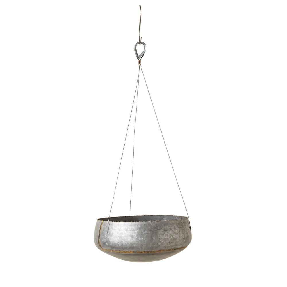 3R Studios Silver Iron Hanging Planter is part of Green Home Accessories Hanging Planters - Hang this sleek iron planter full of vibrant plants or flowers  The large 12 in  wide and 6 in  high space provides plenty of room to allow your plants to grow  You will love to see how the iron contrasts against your chosen plant  Color Silver