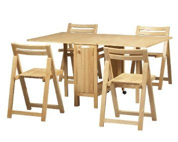 Linon Space Saver Gateleg Table With Foldaway Chairs Super