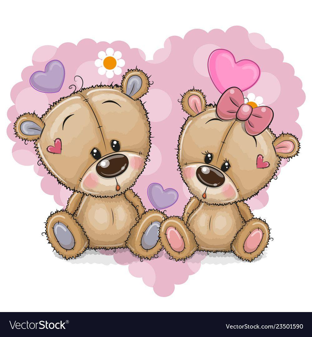 Two Cartoon Bears On A Background Of Heart Vector Image On Vectorstock Bear Cartoon Cute Cartoon Cute Cartoon Girl